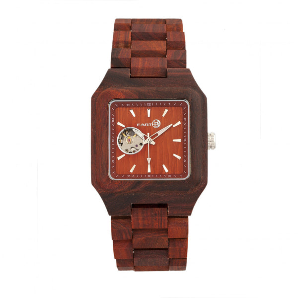 Earth Wood Black Rock Automatic Bracelet Watch - Red - Earth Wood Goods - Wood Watches, Wood Sunglasses, Natural Cork Bags