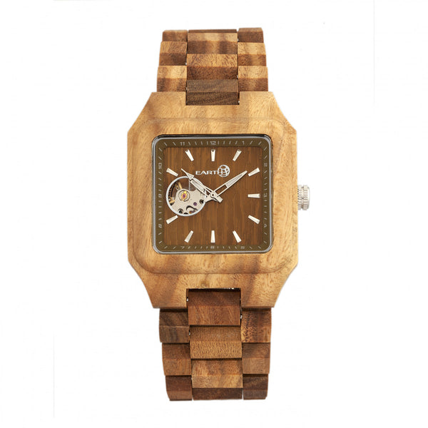 Earth Wood Black Rock Automatic Bracelet Watch - Olive - Earth Wood Goods - Wood Watches, Wood Sunglasses, Natural Cork Bags