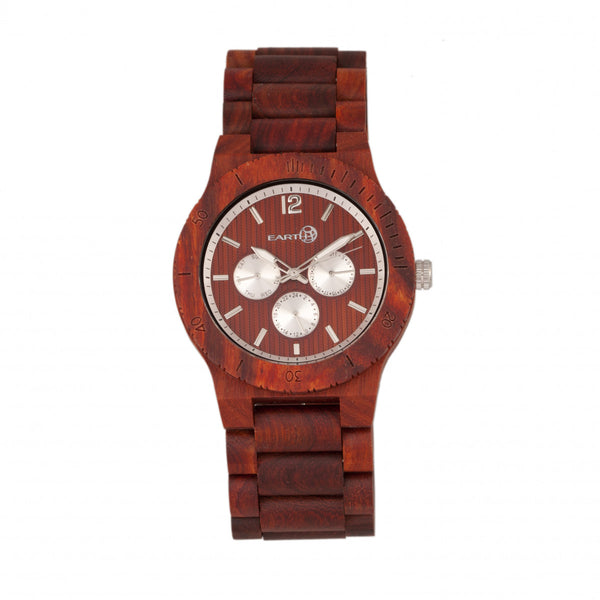 Earth Wood Bonsai Bracelet Watch w/Day/Date - Red