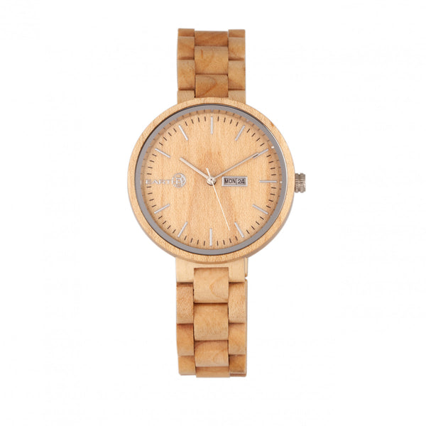 Earth Wood Mimosa Bracelet Watch w/Day/Date - Khaki-Tan - Earth Wood Goods - Wood Watches, Wood Sunglasses, Natural Cork Bags