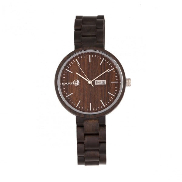 Earth Wood Mimosa Bracelet Watch w/Day/Date - Dark Brown