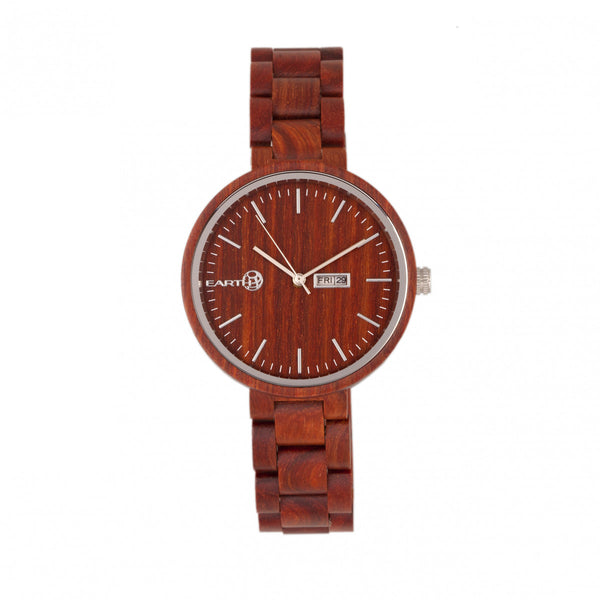 Earth Wood Mimosa Bracelet Watch w/Day/Date - Red - Earth Wood Goods - Wood Watches, Wood Sunglasses, Natural Cork Bags