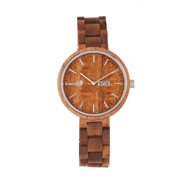 Earth Wood Mimosa Bracelet Watch w/Day/Date - Olive - Earth Wood Goods - Wood Watches, Wood Sunglasses, Natural Cork Bags