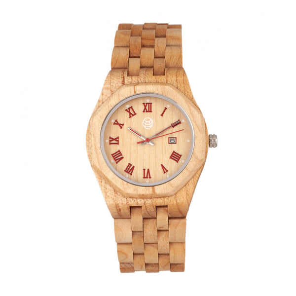 Earth Wood Baobab Bracelet Watch w/Date - Khaki/Tan - Earth Wood Goods - Wood Watches, Wood Sunglasses, Natural Cork Bags