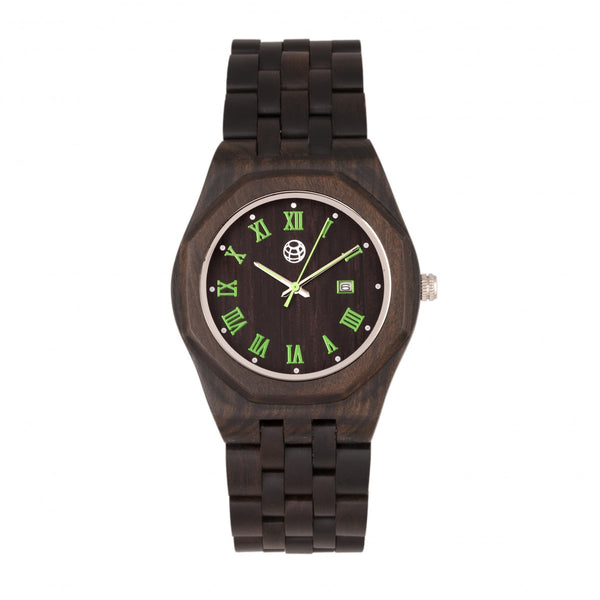 Earth Wood Baobab Bracelet Watch w/Date - Dark Brown