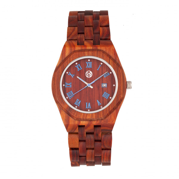 Earth Wood Baobab Bracelet Watch w/Date - Red - Earth Wood Goods - Wood Watches, Wood Sunglasses, Natural Cork Bags