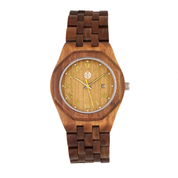 Earth Wood Baobab Bracelet Watch w/Date - Olive - Earth Wood Goods - Wood Watches, Wood Sunglasses, Natural Cork Bags