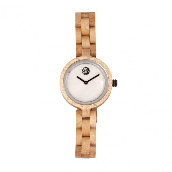 Earth Wood Wisteria Mother-Of-Pearl Bracelet Watch - Khaki/Tan - Earth Wood Goods - Wood Watches, Wood Sunglasses, Natural Cork Bags
