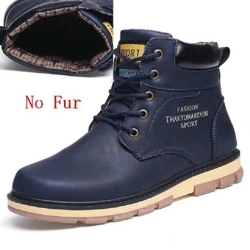 Warm Men's Pu Leather Ankle Waterproof Winter Snow Boots - FULLINO