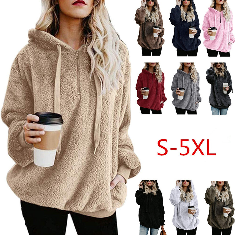 Women's Fluffy Pullover Hoodies - FULLINO