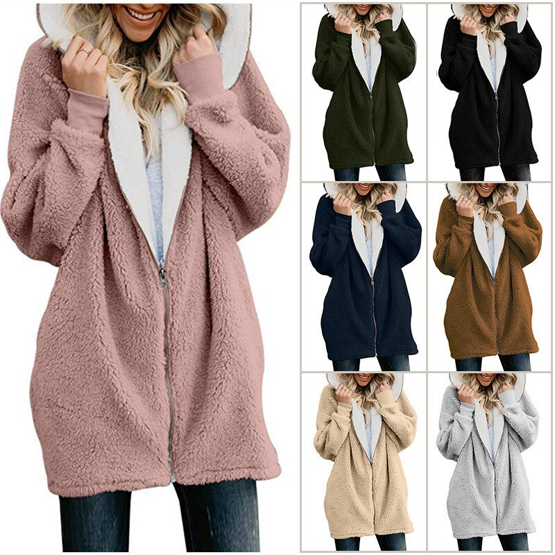 Women's Fleece Jacket With Hood - FULLINO
