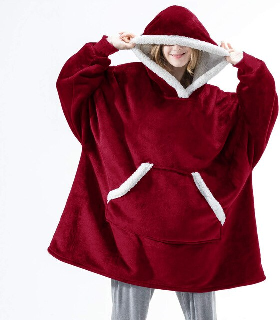 Oversized Luxury Blanket With Sleeves And Hood For Cold Weather - FULLINO