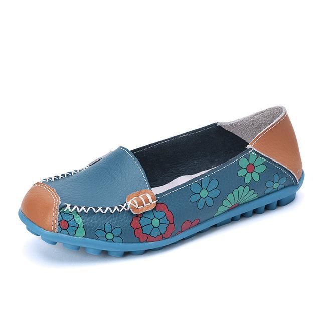 Women Comfortable Leather Flat Shoes - FULLINO