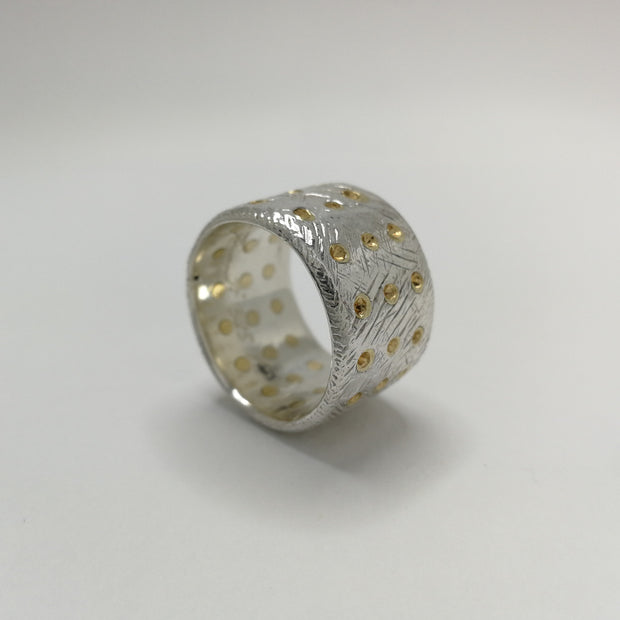 Sterling Silver Band with 45 Studs