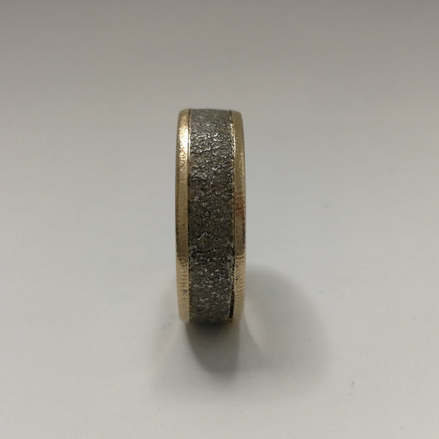 Baroque Silver Wedding Ring with Gold Shoulders and Sleeve