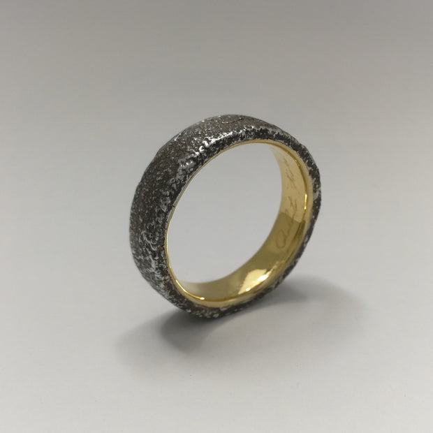 Baroque Silver Wedding Ring with Gold Sleeve