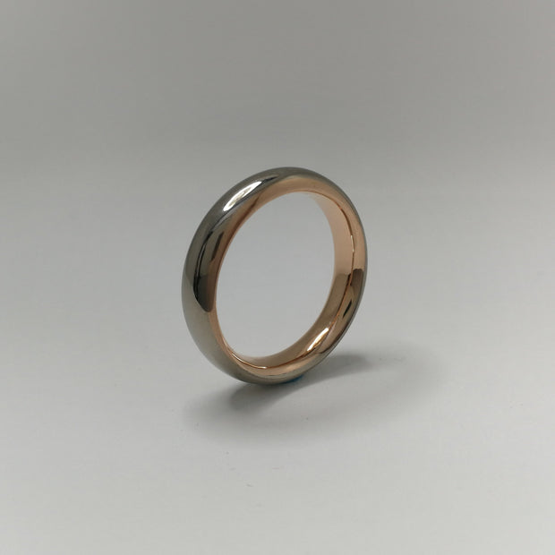 Grey Gold and Rose Gold Elliptical Wedding Ring