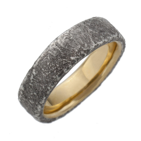 Gnarly Sterling silver ring with 18K gold Inlay