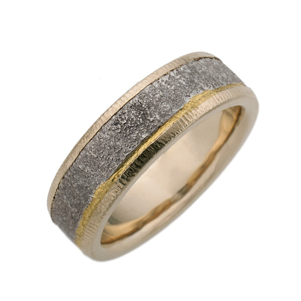Gnarly Sterling silver ring with 18K gold sides