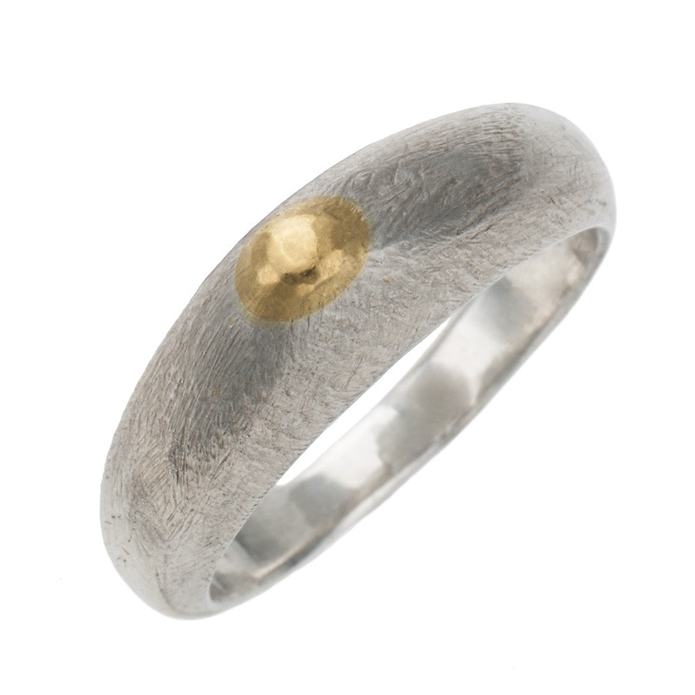 Gold point silver brush ring