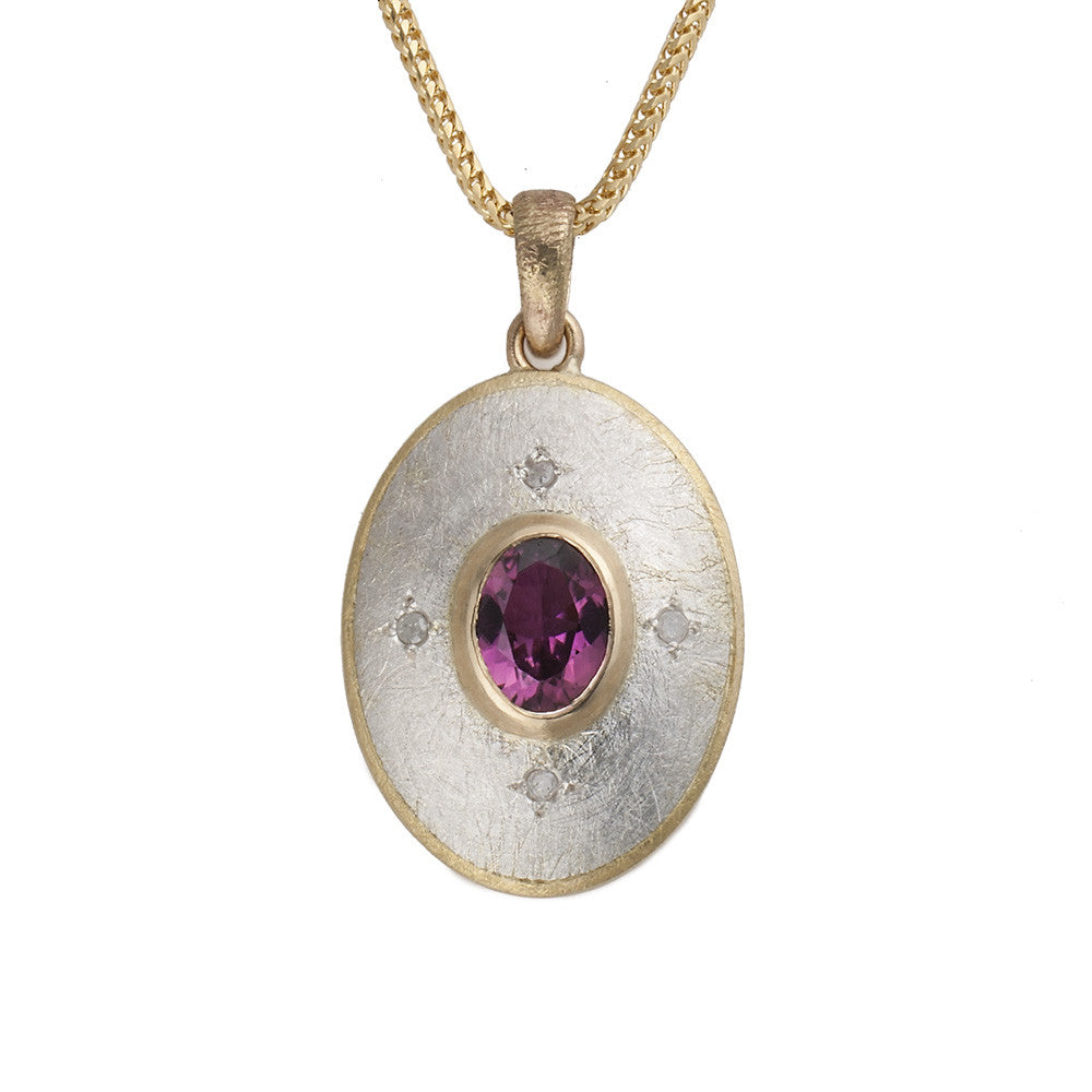 Oval Pendant with Pink Tourmaline and 4 brilliant Diamonds (SOLD)