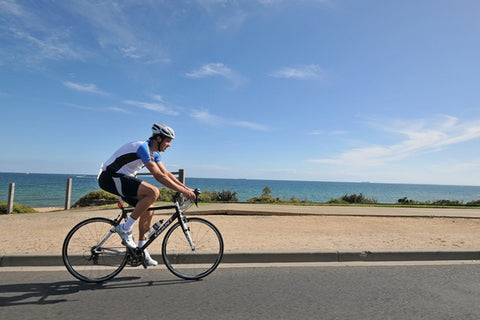 cycling on beach road