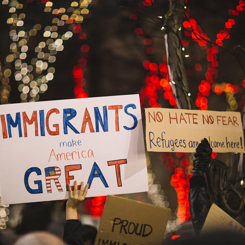 """various signs with """"immigrants made American great"""" being highlighted."""