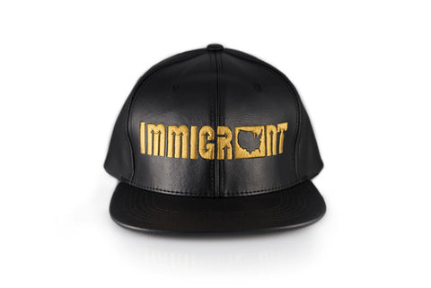 The Leather Black and Gold SnapBack