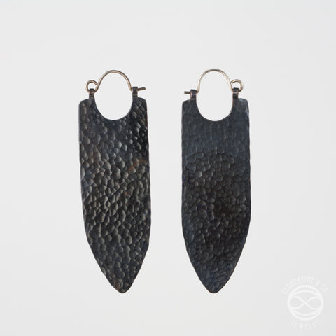 Banner Earrings in Blackened Copper