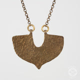 Shield Necklace in Antiqued Brass