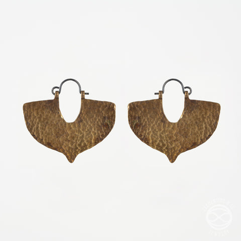 Shield Earrings in Antiqued Brass