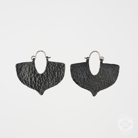 Shield Earrings in Blackened Copper