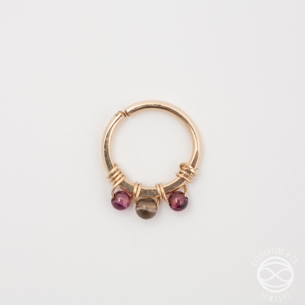 Jeweled Septum Ring in Gold