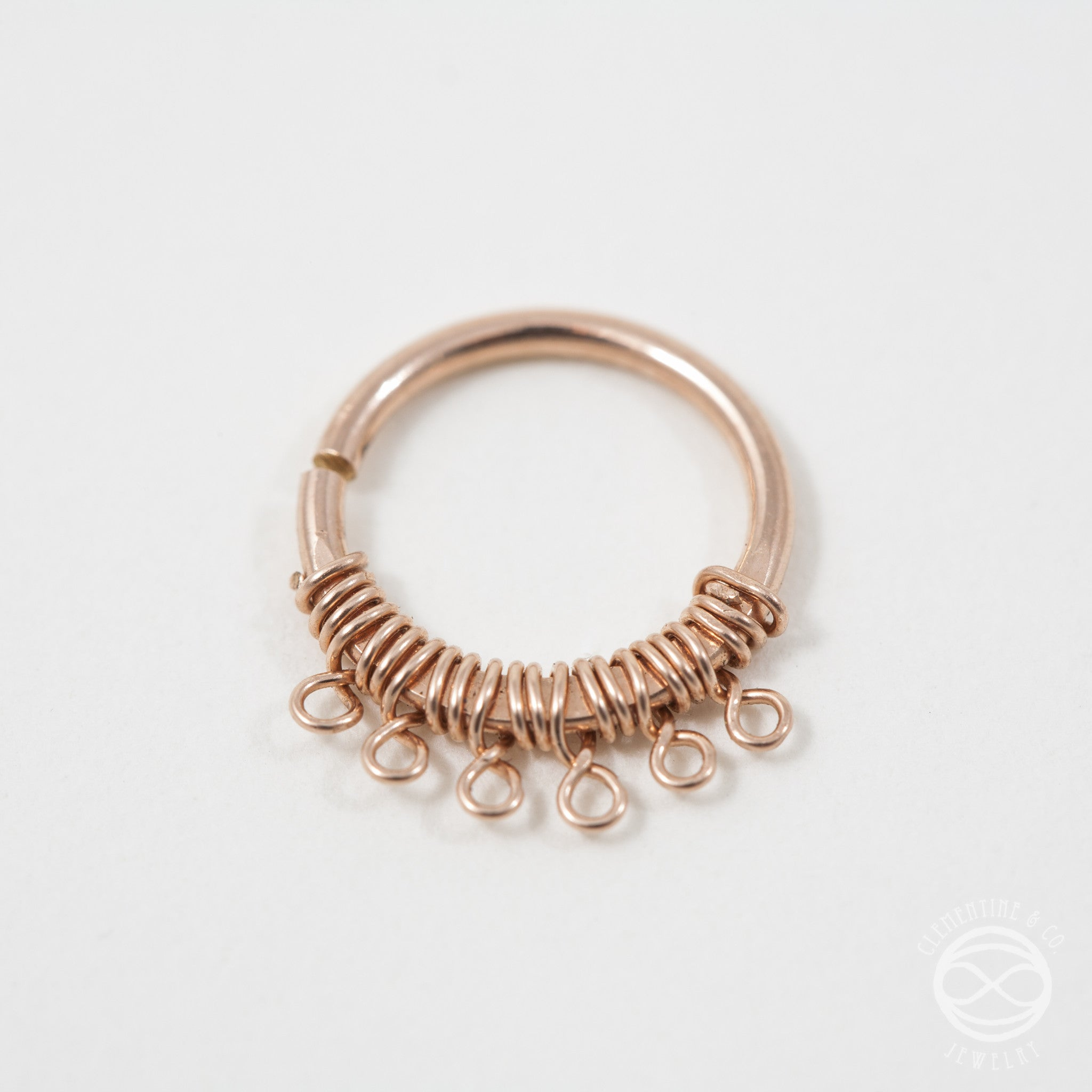 Filigree Septum Ring In Rose Gold 18 Gauge Clementine Co Jewelry
