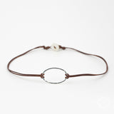 Silver Oval Choker on Leather Cord