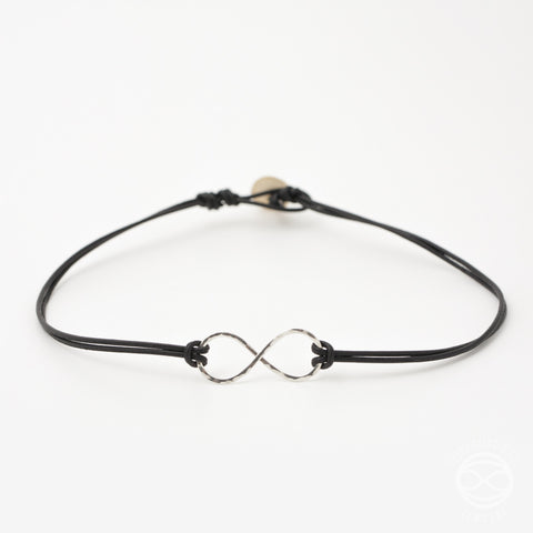 Infinity Necklace in Silver with Leather Strap