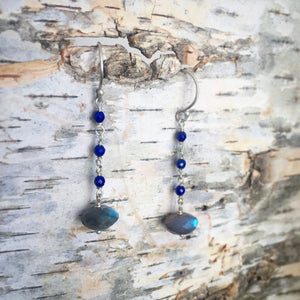 Labradorite and Lapis drop-chain earrings