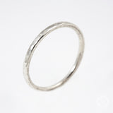 silver stacking ring with hammered texture