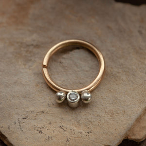 Uma Septum Ring solid 14k Gold CZ and Sterling