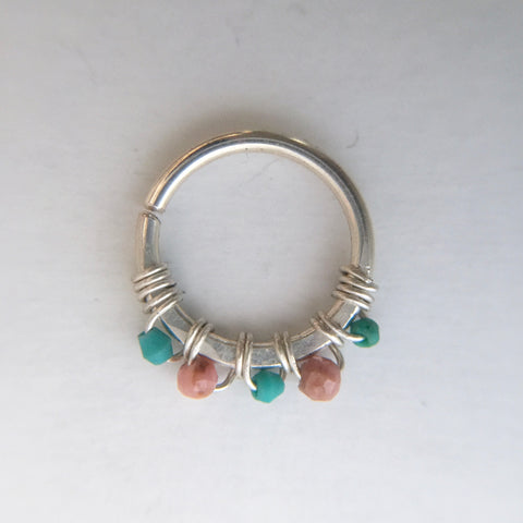 Septum Ring- Silver, Turquoise, Rhodonite