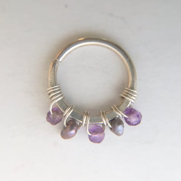 Septum Ring- Silver, Amethyst, Grey Pearl