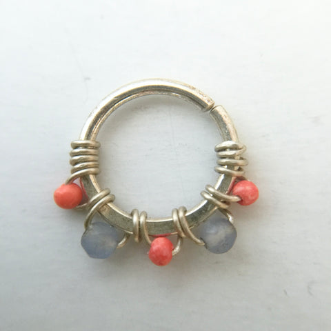 Septum Ring- Silver, Coral, Blue Agate