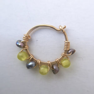 Nose ring- Gold, Lemon Quartz, Grey Pearl
