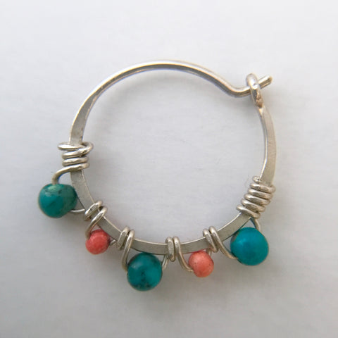 Nose ring- Silver, Turquoise, Coral