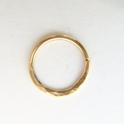 Hammered Texture Septum Ring- Gold