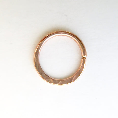 Hammered Texture Septum Ring- Rose Gold