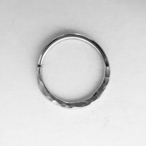 Hammered Texture Septum Ring- Silver