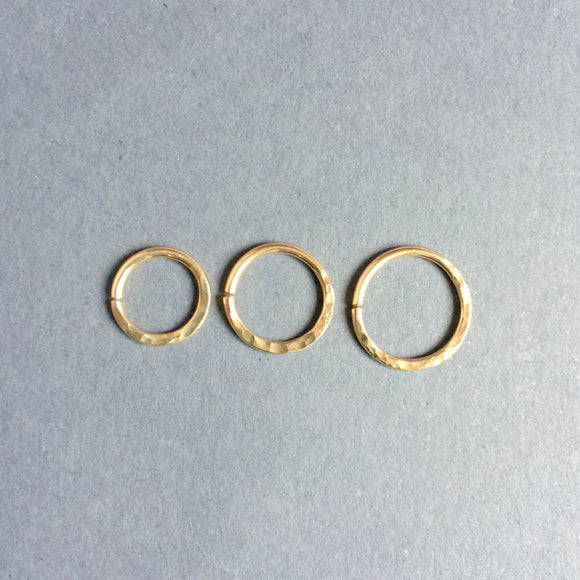 Solid 14k Yellow Gold Septum Ring- Hammered