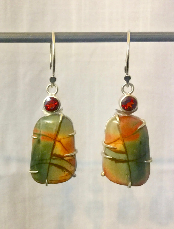 Jasper and Fire Citrine Earrings