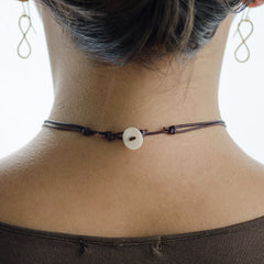 Silver Infinity Choker on Leather Cord